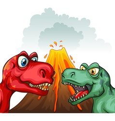 Two t-rex fighting each other vector