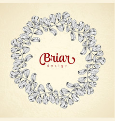 Vintage circle frame briar sketch template vector