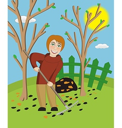 Woman with a rake cleans a garden vector image