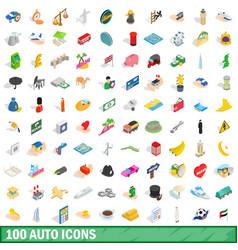 100 auto icons set isometric 3d style vector image