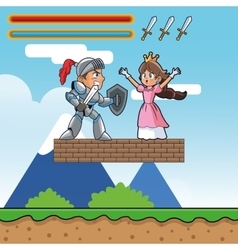Princess warrior and videogame design vector image