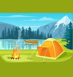 Summer tourist camp in forest near lake vector