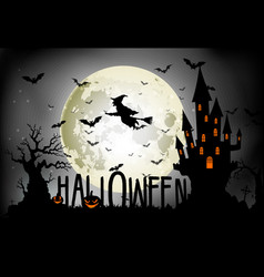Halloween background of witch on the full moon vector