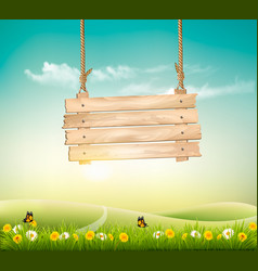 Summer nature background with green landscape and vector