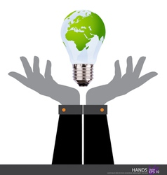 Business people holding an electric light bulb vector