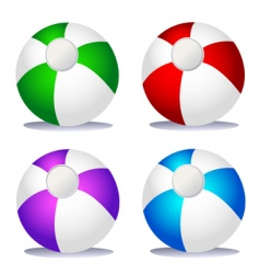set of coloured beach balls vector image