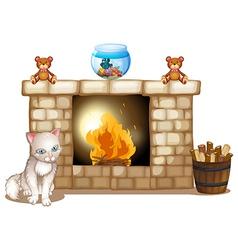 A sad cat near the fireplace vector image