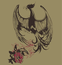 Bird vintage print vector