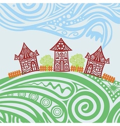 Nature pattern background houses vector image