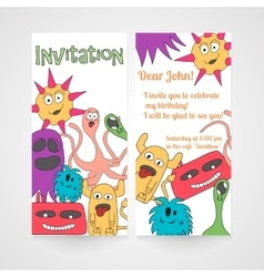 Card with abstract monsters pattern vector