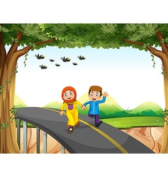 Muslim couple crossing a bridge vector