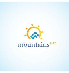The mountains and the sun vector