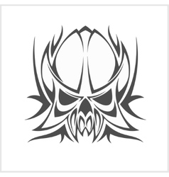 Monochrome medieval skull isolated on white vector