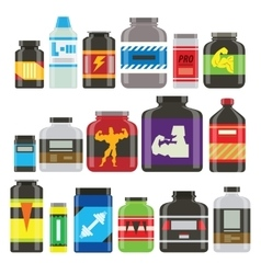 Sports food nutrition icons in flat style and long vector