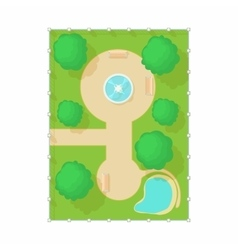 Top view of park with fountain icon cartoon style vector