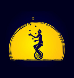 a man juggling balls while cycling on bicycle vector image vector image