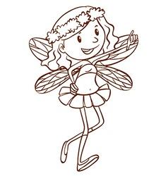 A simple sketch of a cute fairy vector image