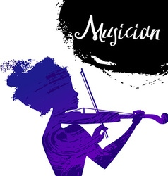 Beautiful musician girl silhouette with violin vector