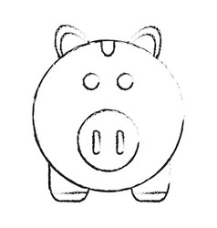 Black blurred silhouette cartoon piggy bank with vector