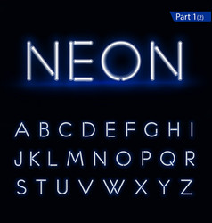 Blue glowing font from a Neon tube vector image
