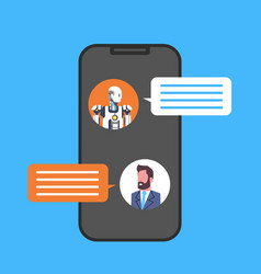 Business man chatting with chatbot service using vector