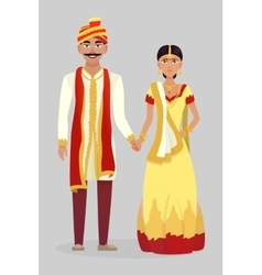 Cartoon indian wedding couple vector