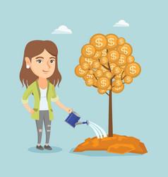 Caucasian businesswoman watering money tree vector
