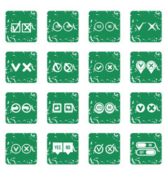Check mark icons set grunge vector