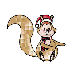 christmas squirrel animal character with hat scarf vector image