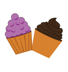 Colorful cream cupcakes set icon food vector