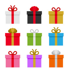 colorful gift boxes set vector image vector image