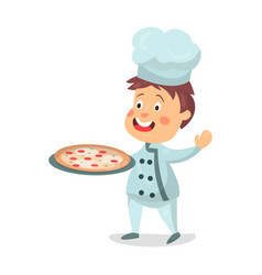 Cute cartoon little boy chef character holding a vector