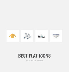 Flat icon garment set of banyan foot textile vector