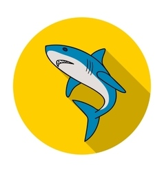 Great white shark icon in flat style isolated on vector