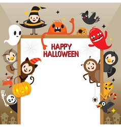 Halloween cartoon character on frame vector