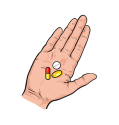 Hand holding three colorful pills tablets in open vector