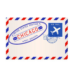 International air mail envelope from chicago with vector