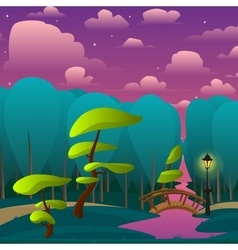 Landscape of night park with trees vector
