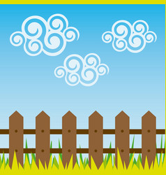 Landscape with wood grate and grass design vector