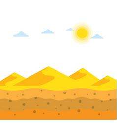 Landscape yellow sand dunes at desert soil vector