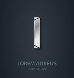 Letter I elegant silver font Template for company vector image