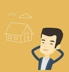 man dreaming about buying new house vector image