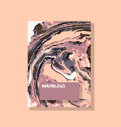Marbled nude and pink abstract background liquid vector