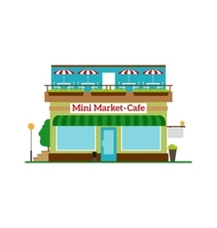 Mini Market Cafe flat style icon vector image vector image