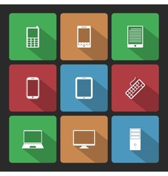 Mobile and Computers Icons Set with Long Shadow vector image vector image