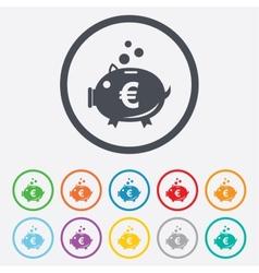 Piggy bank sign icon Moneybox symbol vector image