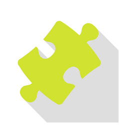 Puzzle piece sign pear icon with flat style vector