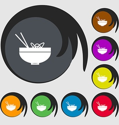 Spaghetti icon sign symbols on eight colored vector