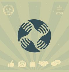 teamwork hands logo human connection vector image vector image