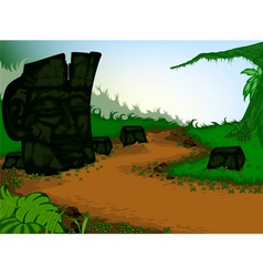 The old stone carvings with nature vector image